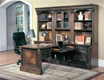 Huntington 7 Piece Peninsula Desk Wall Unit in Chestnut Finish by Parker House - HUN-505-7