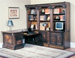 Huntington 8 Piece Peninsula Desk Wall Unit in Chestnut Finish by Parker House - HUN-505-8