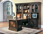Huntington 8 Piece Peninsula Desk Wall Unit in Chestnut Finish by Parker House - HUN-560-8