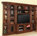 Leonardo 6 Piece Entertainment Bookcase Library Wall in Antique Vintage Dark Chestnut Finish by Parker House - LEO-412-6