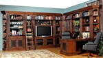 Leonardo 14 Piece Entertainment Bookcase Library Wall with Peninsula Desk in Antique Vintage Dark Chestnut Finish by Parker House - LEO-490-2-14