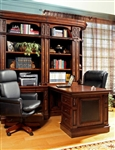 Leonardo 7 Piece Bookcase Library Wall with Peninsula Desk in Antique Vintage Dark Chestnut Finish by Parker House - LEO-490-2-7