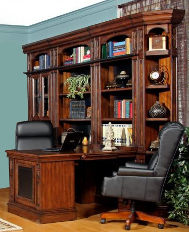 Leonardo 8 Piece Bookcase Library Wall With Peninsula Desk
