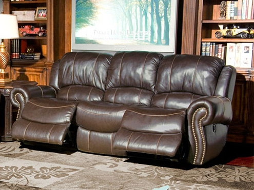 Elegant Adonis Power Reclining Sofa In Chocolate Leather By Parker House    MADO 832P CH