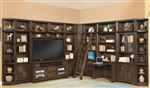 Meridien 60 Inch TV 11 Piece Entertainment Desk Library Wall in Burnished Dark Ash Finish by Parker House - MER-412-11