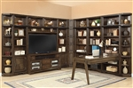 Meridien 60 Inch TV 12 Piece Entertainment Desk Library Wall in Burnished Dark Ash Finish by Parker House - MER-412-12
