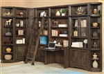 Meridien 8 Piece Desk Library Wall in Burnished Dark Ash Finish by Parker House - MER-412-8