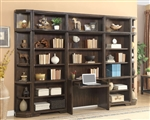 Meridien 6 Piece Library Desk Bookcase Wall in Burnished Dark Ash Finish by Parker House - MER-460-2-06
