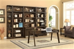Meridien 7 Piece Library Desk Bookcase Wall Home Office Set in Burnished Dark Ash Finish by Parker House - MER-460-2-07