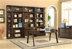 Meridien 8 Piece Library Desk Bookcase Wall Home Office Set in Burnished Dark Ash Finish by Parker House - MER-460-2-08