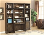 Meridien 4 Piece Library Desk Bookcase Wall in Burnished Dark Ash Finish by Parker House - MER-460-2-4