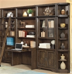 Meridien 6 Piece Library Desk Bookcase Wall in Burnished Dark Ash Finish by Parker House - MER-460-2-6