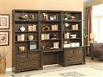 Meridien 6 Piece Library Desk Lateral File Bookcase Wall in Burnished Dark Ash Finish by Parker House - MER-476-2-6