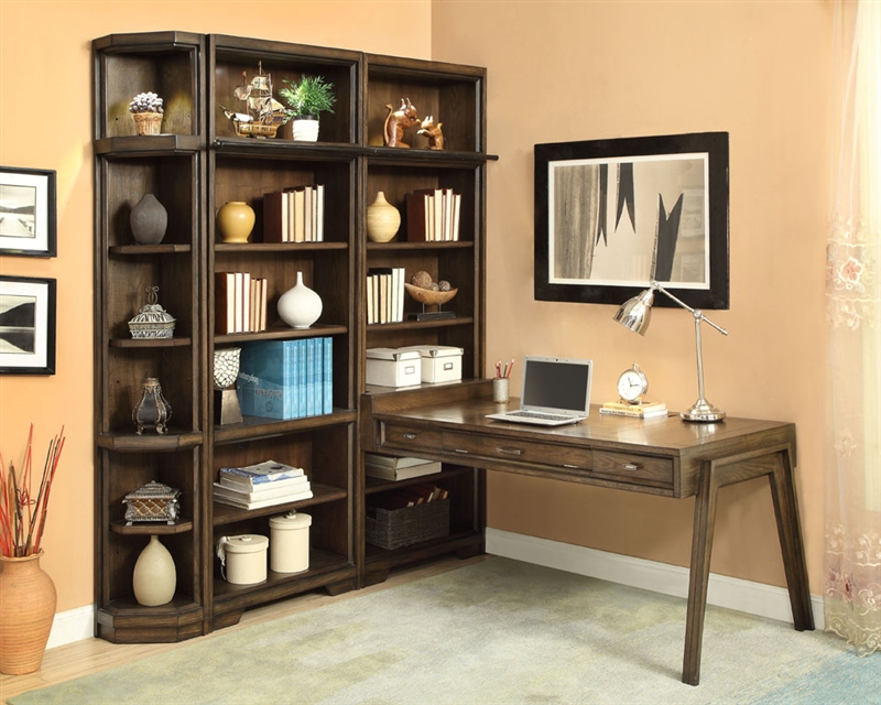 Home Office Sets Painted Office 5 Piece: Meridien 5 Piece Bookcase Peninsula Desk Library Wall