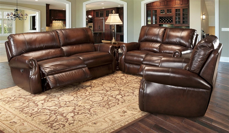 Hawthorne Power Dual Reclining Sofa In Brown Tri Tone Leather By Parker House Mhaw 832p Br