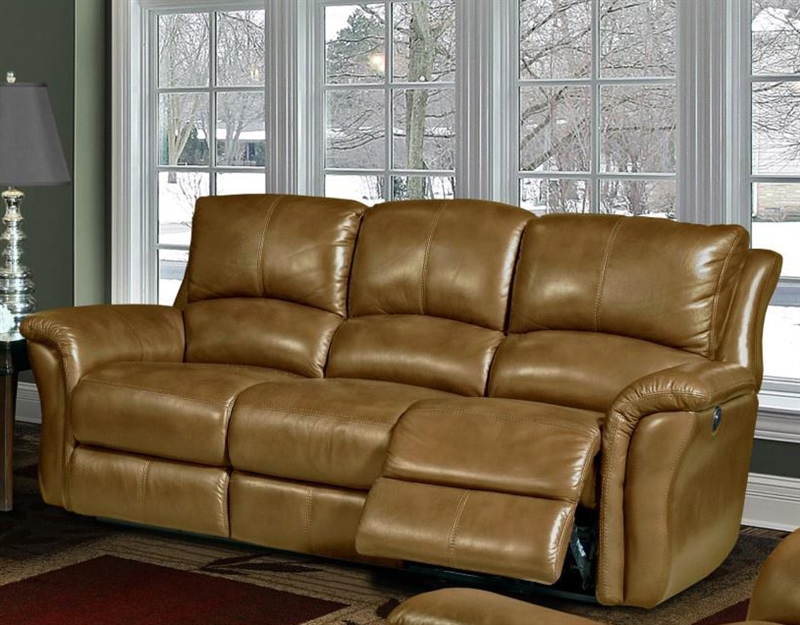 Lewis Power Dual Reclining Sofa In Camel Leather By Parker