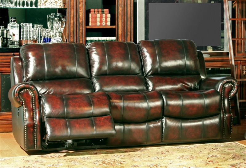Midas Power Reclining Sofa in Burnt Umber Leather by Parker House -  MMID-832P-BU