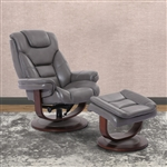 Monarch Swivel Recliner with Ottoman in Ice Leather by Parker House - MMON-212S-ICE