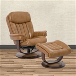 Prince Swivel Recliner with Ottoman in Butterscotch Leather by Parker House - MPRI-212S-BUT