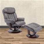 Prince Swivel Recliner with Ottoman in Ice Leather by Parker House - MPRI-212S-ICE