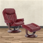 Prince Swivel Recliner with Ottoman in Rouge Leather by Parker House - MPRI-212S-ROU