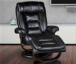 Triton Swivel Recliner and Ottoman in Black Synthetic Leather Upholstery by Parker House - MTRI-212S-BK