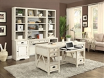 Nantucket 7 Piece Modular Home Office Set in Vintage Burnished Artisan White Finish by Parker House - NAN-970-SET