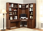 Napa Corner Desk 6 Piece Modular Corner Bookcase Home Office Library Wall in Bourbon Finish by Parker House - NAP-970-06