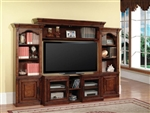 Athens 43-60-Inch TV 4 Piece Expendable Premier Wall Unit in Antique Light Vintage Chocolate Finish by Parker House - PAT-100-4X