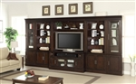 Stanford 6 Piece Entertainment Bookcase Library Wall in Light Vintage Sherry Finish by Parker House - STA-430-06