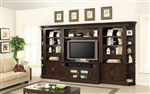 Stanford 6 Piece Entertainment Bookcase Library Wall in Light Vintage Sherry Finish by Parker House - STA-430-6
