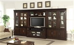 Stanford 6 Piece Entertainment Bookcase Library Wall in Light Vintage Sherry Finish by Parker House - STA-440-06