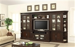 Stanford 6 Piece Entertainment Bookcase Library Wall in Light Vintage Sherry Finish by Parker House - STA-440-6