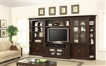Stanford 6 Piece Entertainment Bookcase Library Wall in Light Vintage Sherry Finish by Parker House - STA-440-6TV