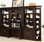 Stanford 6 Piece Library Desk Bookcase Wall in Light Vintage Sherry Finish by Parker House - STA-463-6