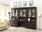 Stanford 6 Piece Library Desk Lateral File Bookcase Wall in Light Vintage Sherry Finish by Parker House - STA-476-6