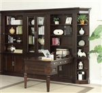 Stanford 6 Piece Peninsula Desk Bookcase Wall in Light Vintage Sherry Finish by Parker House - STA-490-6