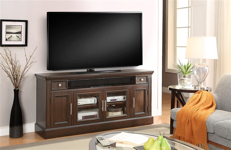 Stanford 63 Inch Tv Console In Light Vintage Sherry Finish