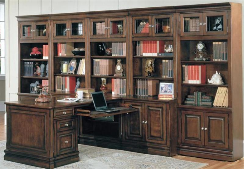 sterling 10 piece peninsula desk home office set in espresso