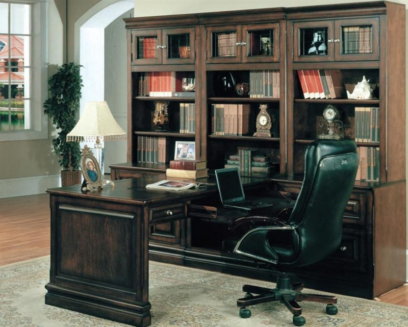 Sterling 7 Piece Peninsula Desk Home Office Set In