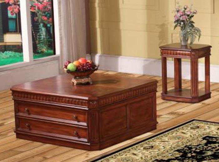 genoa occasional tables in antique vintage dark pecan finish