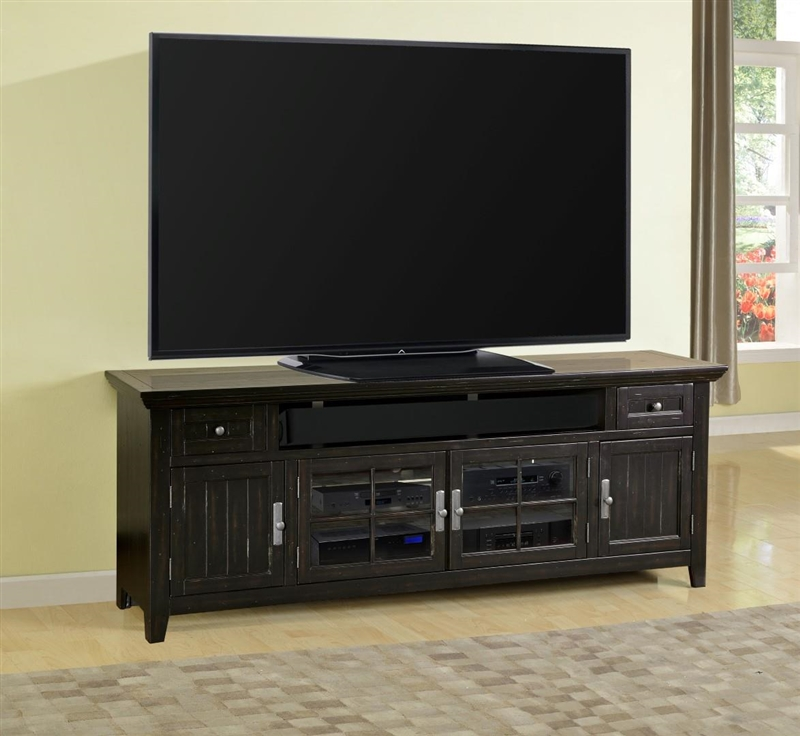 Tahoe 84 Inch Tv Console In Vintage Black Burnished Finish