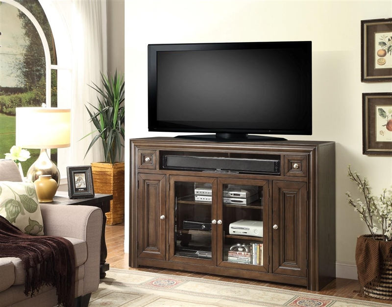 Tempo 62 Inch Tall Tv Console In Burnished Dark Mocha Finish By Parker House Tem 62tl