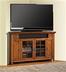 Terrace 62-Inch TV Corner Console in Antique Vintage Smoked Ash Finish by Parker House - TER-62CR