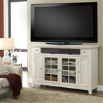 Tidewater 62-Inch Tall TV Console in Vintage White Finish by Parker House - TID-62TL
