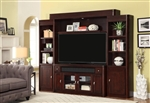Toronto 4 Piece 62 Inch Console Entertainment Wall in Cabernet Finish by Parker House - TOR-162-4
