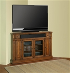 Toscano 62-Inch TV Corner Console in Antique Vintage Dark Chestnut Finish by Parker House - TOS-62CR
