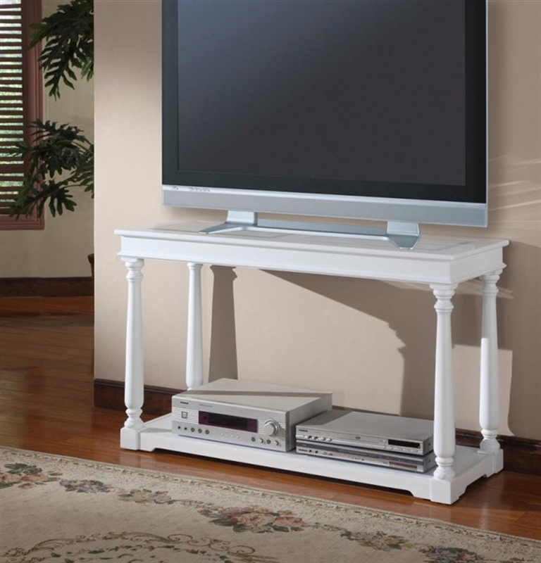 Alpine 48 inch tv console sofa table in cottage white for Sofa table 48 inches