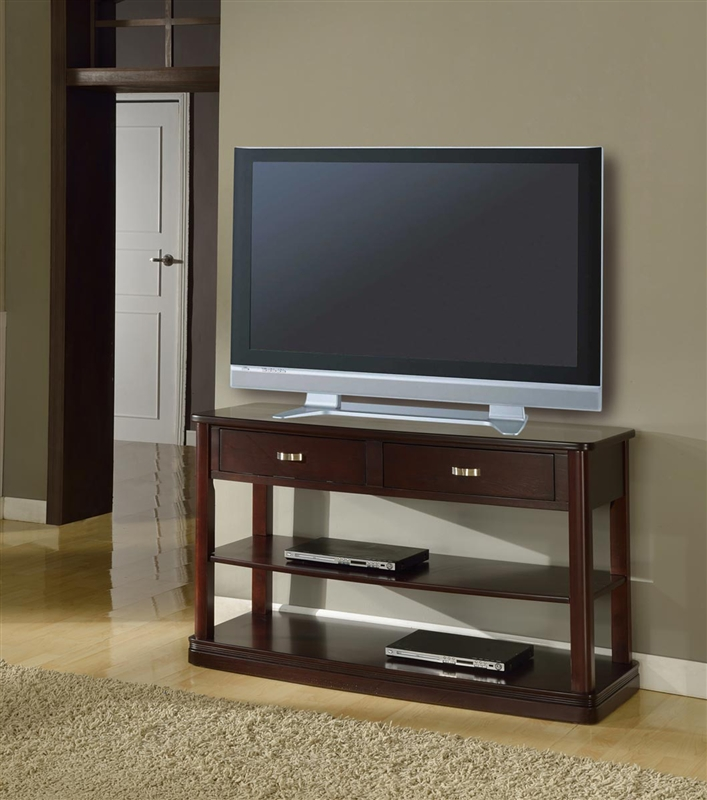 Biscayne 50 inch tv console sofa table in merlot finish by for Sofa table 50 inches