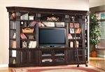 Venezia 6 Piece 50-Inch TV Console Bookcase Entertainment Library Wall in Vintage Burnished Black Finish by Parker House - VEN-401-06